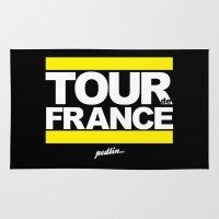 tour de france Area & Throw Rugs featuring Tour de France by Pedlin