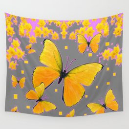 YELLOW BUTTERFLIES FLORAL PINK-GREY ART Wall Tapestry