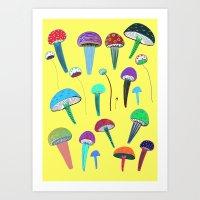mushrooms Art Prints featuring Mushrooms  by Ashley Percival illustration
