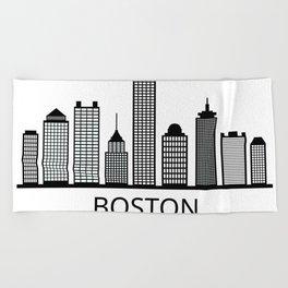 Boston skyline Beach Towel