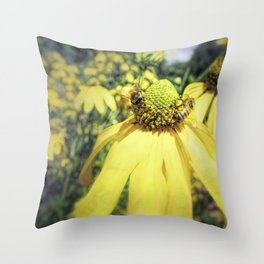 Bees on Yellow Flower Throw Pillow
