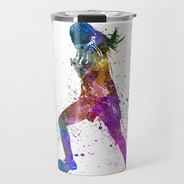 Girl playing soccer football player silhouette Travel Mug