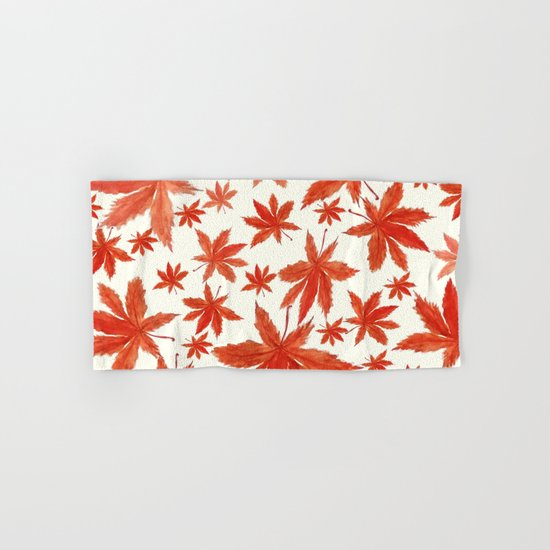 red maple leaves pattern  Hand & Bath Towel