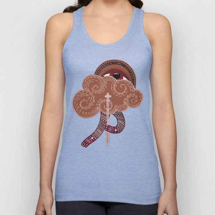 surreal creatue with cloud mask Unisex Tank Top