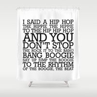 hip hop Shower Curtains featuring HIP HOP BOGGIE WHITE by HOLY MOLY