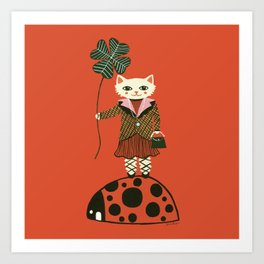 Lucky Cat, Red Art Print