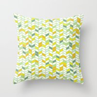 herringbone Throw Pillows featuring Herringbone by Jaybeak