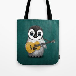 Musical Baby Penguin Playing Acoustic Guitar on Teal Blue Tote Bag