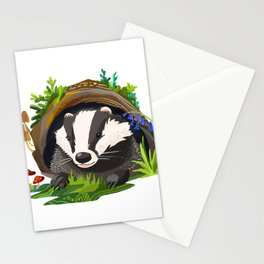 Badger and Bluebells Stationery Cards
