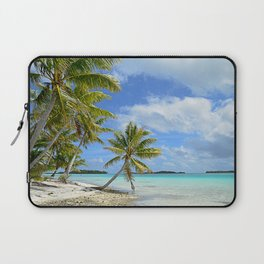 Tropical palm beach in the Pacific Laptop Sleeve