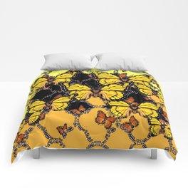 BLACK-GOLDEN YELLOW BUTTERFLIES ART Comforters