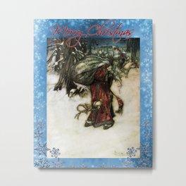 Father Christmas, Vintage Arthur Rackham Santa Metal Print