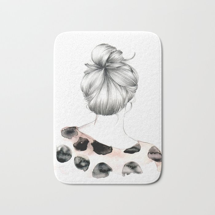 illustration girl bun drawing in pencil and watercolors bath mat