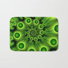 Green Fractal, Modern Spiral With Depth Bath Mat