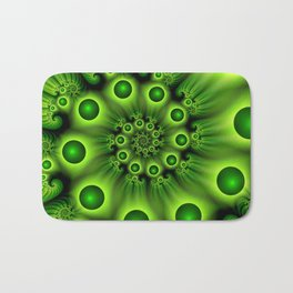 Green Fractal, Modern Spiral With Depth Bath Mat