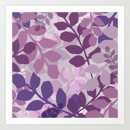 Ultra Violet Purple Lavender Leaves Pattern Art Print