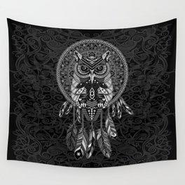 White Owl Dreamcatcher Aztec Pattern Wall Tapestry