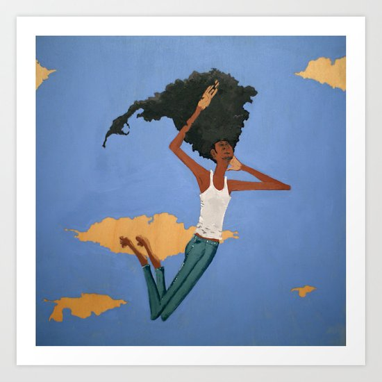 Floating Fro Man Art Print