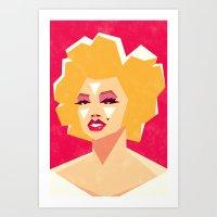 marilyn Art Prints featuring Marilyn by Yetiland