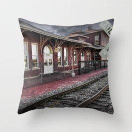 Old Train Station with Crossing Sign in Gutherie Oklahoma No.0840 A Fine Art Railroad Landscape Phot Throw Pillow