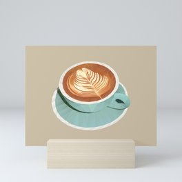 Coffee with Latte Art Polygon Art Mini Art Print