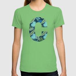 Jungle Palm Trees Initial Monogram Letter C T-shirt