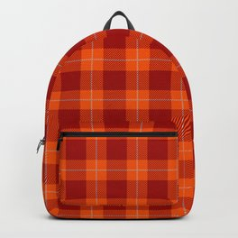 Red and Orange Modern Gingham Plaid Pattern Backpack