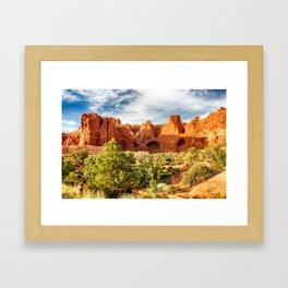 Orange Rocks, Blue Sky Framed Art Print