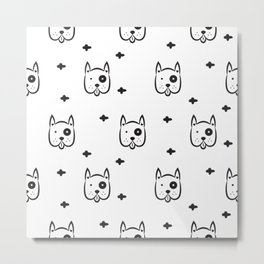 Funny white dog pattern Metal Print