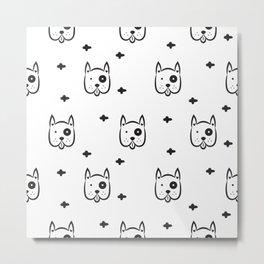 Funny white dog pattern Metal Print