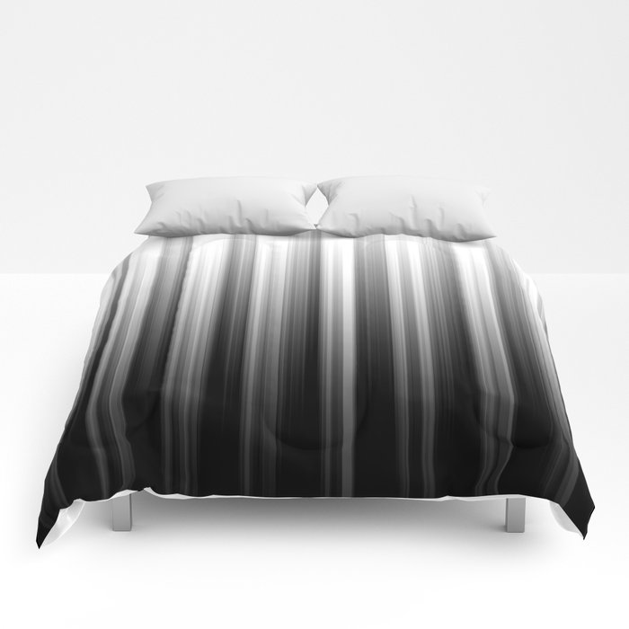 Black And White Soft Blurred Vertical Lines - Ombre Abstract Blurred Design Comforters