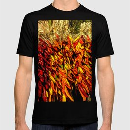 Ristras made from green, yellow, orange and red chile peppers T-shirt