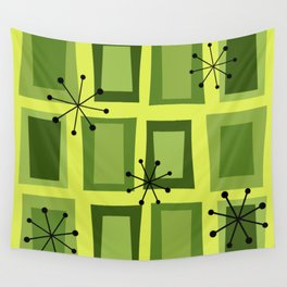 Mid Century Modern Art 'Wonky Doors' Chartreuse Wall Tapestry