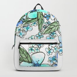 Blue Forget Me Not Floral Watercolor Backpack