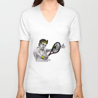 tennis V-neck T-shirts featuring Tennis Federer by Paul Nelson-Esch Art