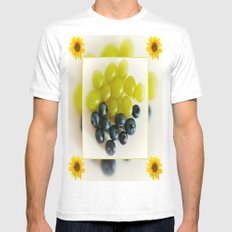 Grapes and Blueberries White MEDIUM Mens Fitted Tee