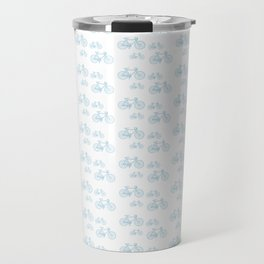 Blue Vintage Road Bike Pattern Travel Mug
