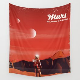 Mars Vintage Space Travel poster Wall Tapestry