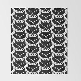Mid Century Modern Cat Black & White Throw Blanket