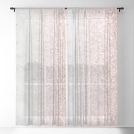 Real Marble and Rose Gold Mermaid Sparkles III Sheer Curtain