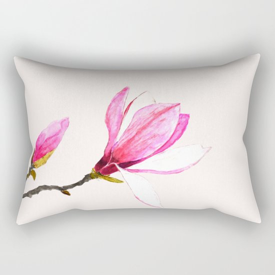 magnolia watercolor painting Rectangular Pillow