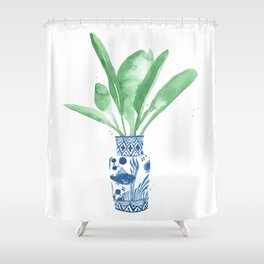 Ginger Jar + Bird of Paradise Shower Curtain