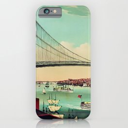 19th Century Portrait of the Brooklyn Bridge and East River, NYC iPhone Case