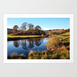 Golden light on the River Brathay Art Print
