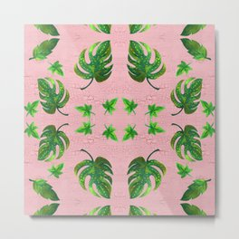 Painting of leaves on a pink wall. Metal Print