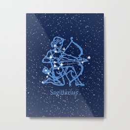 Sagittarius Constellation & Zodiac Sign with Stars Metal Print