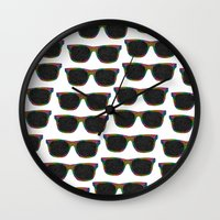 sunglasses Wall Clocks featuring Sunglasses by Luna Portnoi