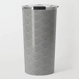 Japanese Wave Seigaiha Super Moon Grey Pattern Travel Mug
