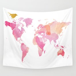 Pink And Gold World Map Wall Tapestry