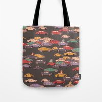 mercedes Tote Bags featuring Never-ending traffic jam by smallDrawing